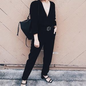 YFB Black 3/4 Sleeve Bellows Jumpsuit